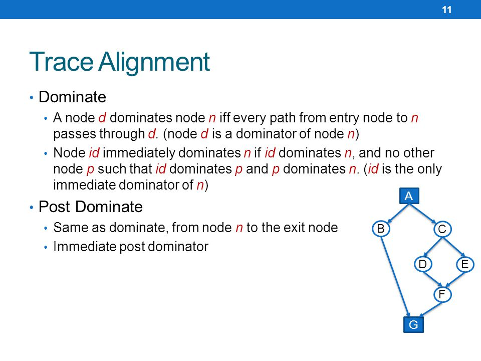 Dominate A node d dominates node n iff every path from entry node to n passes through d.