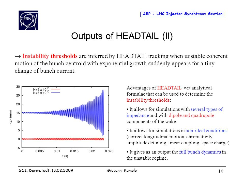ABP - LHC Injector Synchtrons Section Giovanni Rumolo 10  Instability thresholds are inferred by HEADTAIL tracking when unstable coherent motion of the bunch centroid with exponential growth suddenly appears for a tiny change of bunch current.