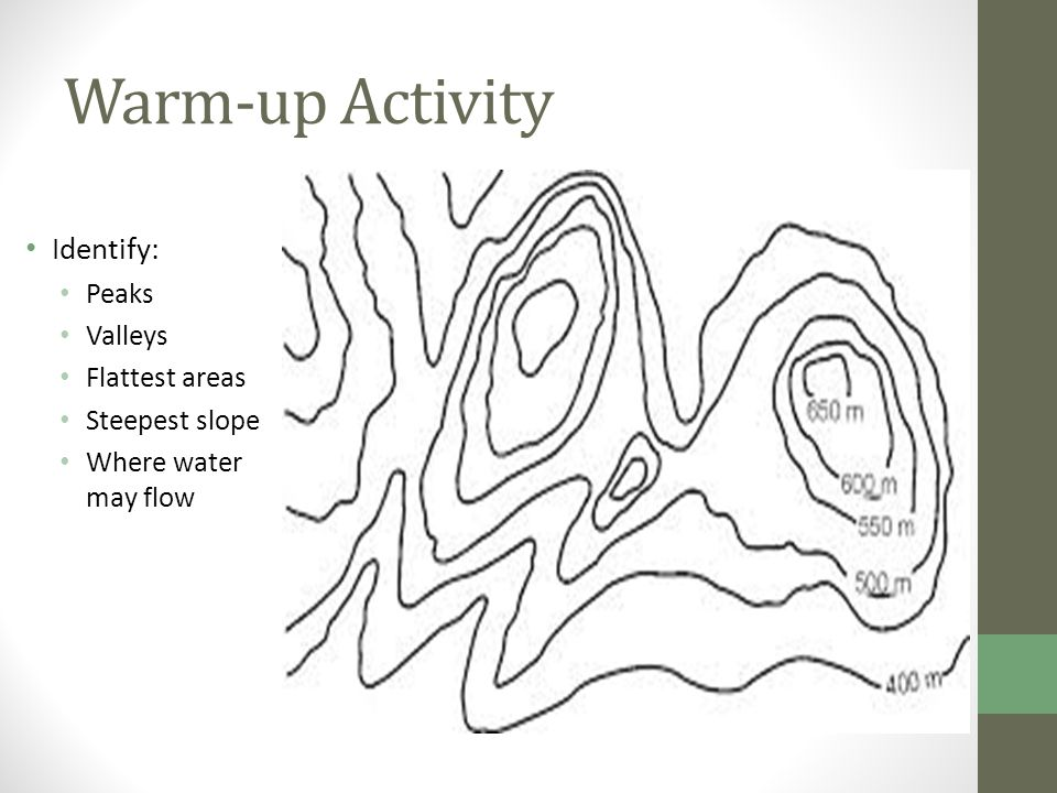 Warm-up Activity Identify: Peaks Valleys Flattest areas Steepest slope Where water may flow