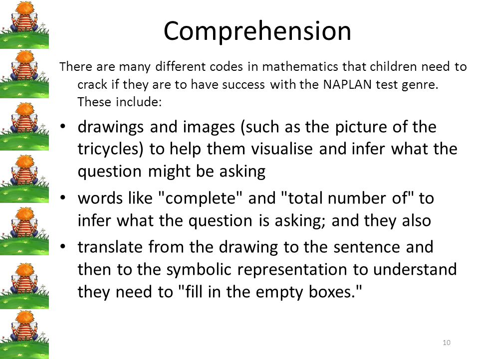 Comprehension T here are many different codes in mathematics that children need to crack if they are to have success with the NAPLAN test genre.