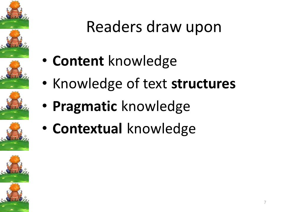 7 Readers draw upon Content knowledge Knowledge of text structures Pragmatic knowledge Contextual knowledge