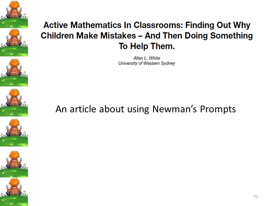70 An article about using Newman's Prompts