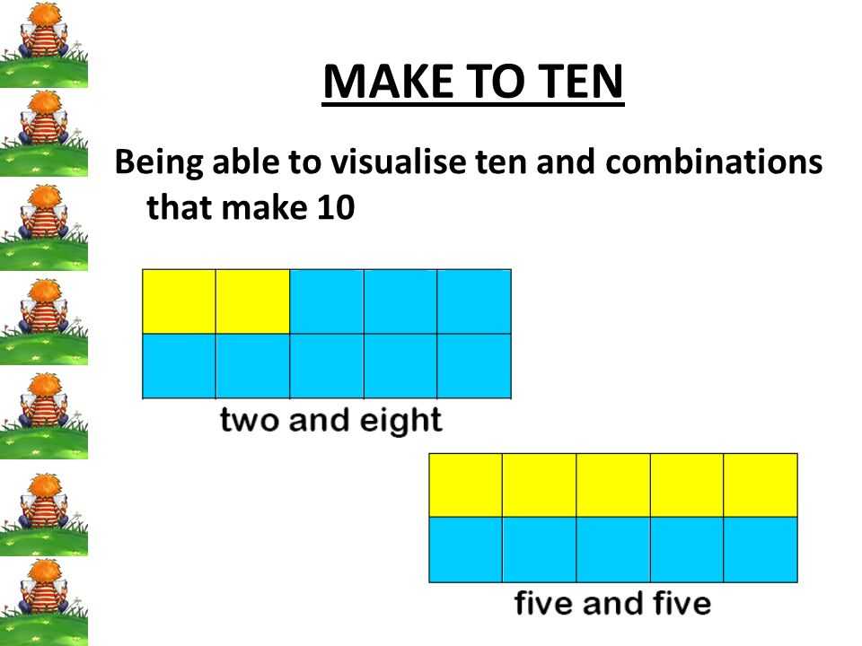 90 MAKE TO TEN Being able to visualise ten and combinations that make 10
