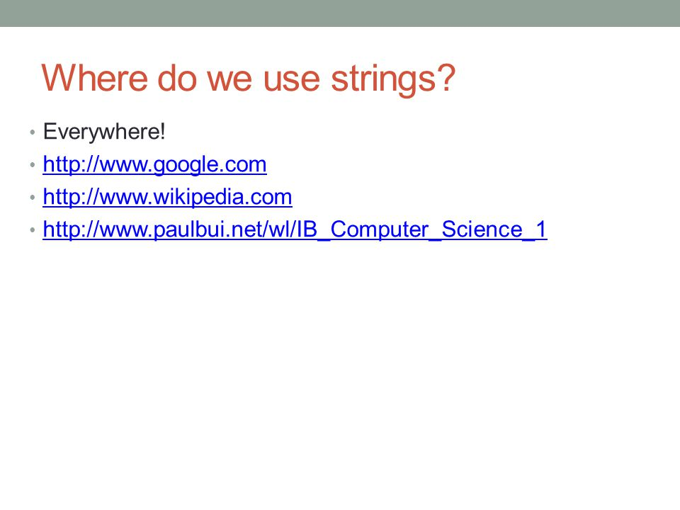 Where do we use strings.Everywhere.
