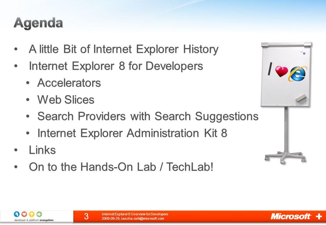 Creating a Web Slice 2009-09-29, sascha.corti@microsoft.com 34 Internet Explorer 8 Overview for Developers
