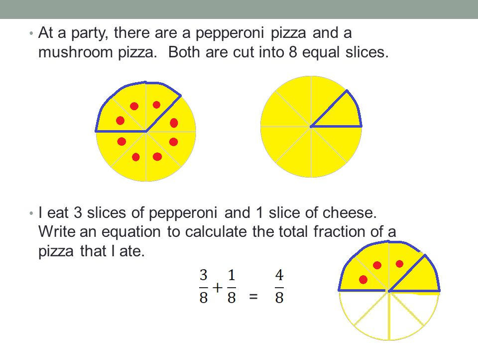 But what do we do when the one pizza is cut into a different amount of slices than another pizza.