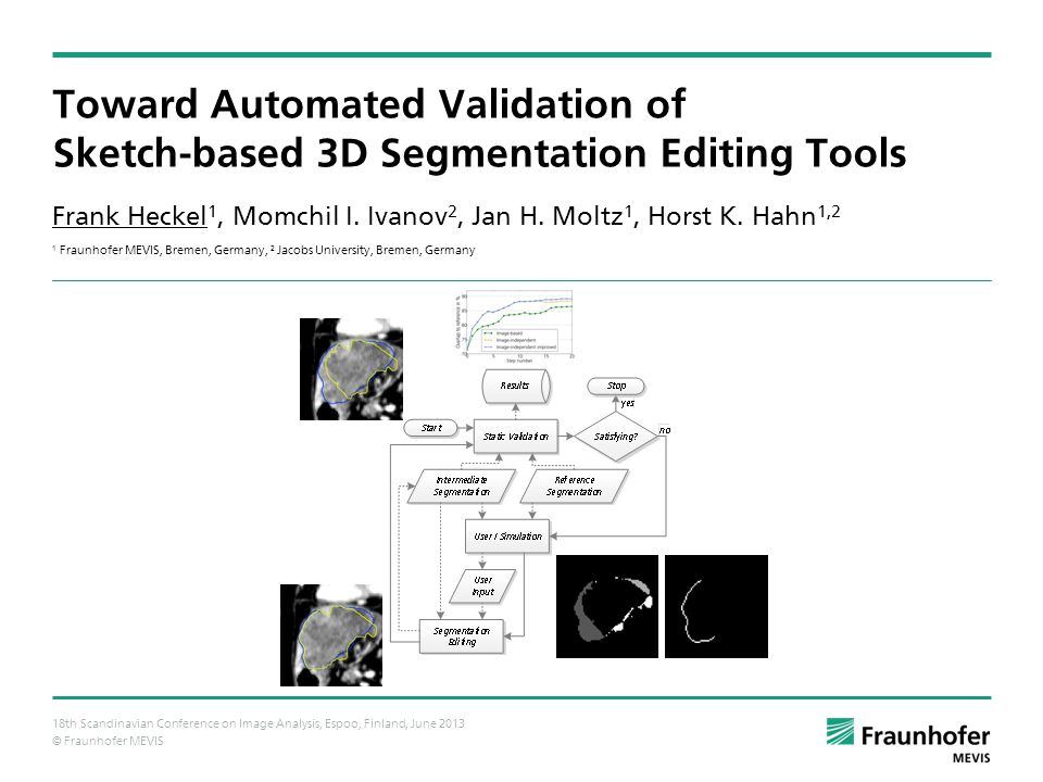 © Fraunhofer MEVIS Toward Automated Validation of Sketch-based 3D Segmentation Editing Tools Frank Heckel 1, Momchil I.