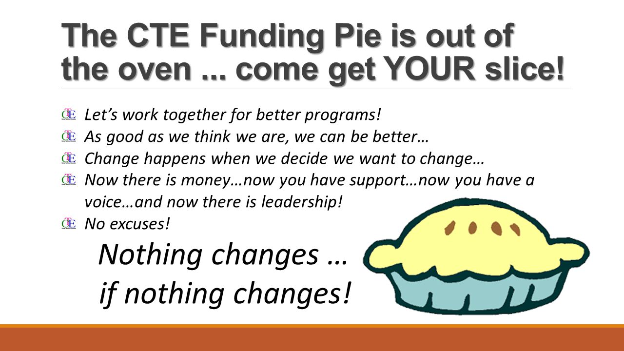 The CTE Funding Pie is out of the oven... come get YOUR slice.