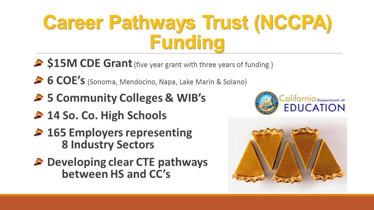 Career Pathways Trust (NCCPA) Funding SRJC will receive $1,040,757 over 3 years ($346,919 per yr.) Nine CTE pathways have been identified in this grant: Agriculture Business and Mechanics Health Occupations Business Management, Finance & Entrepreneurship Hospitality, Tourism & Recreation Manufacturing ICT/Digital Media Engineering Design & Green Tech Public Service/Safety Geospatial Technologies