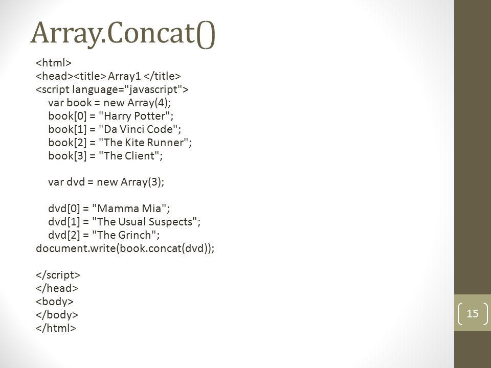 Array.Concat() Array1 var book = new Array(4); book[0] =