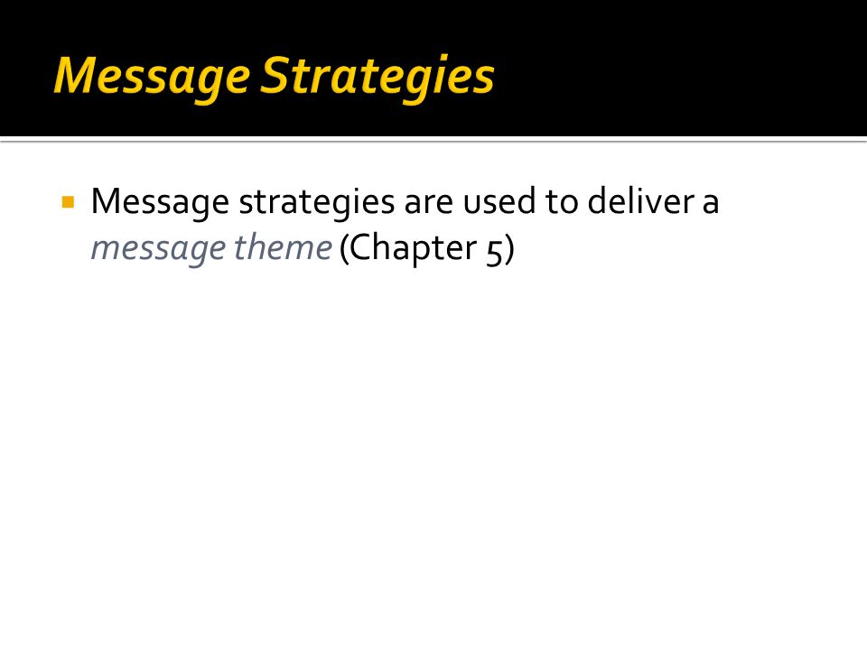  Message strategies are used to deliver a message theme (Chapter 5)