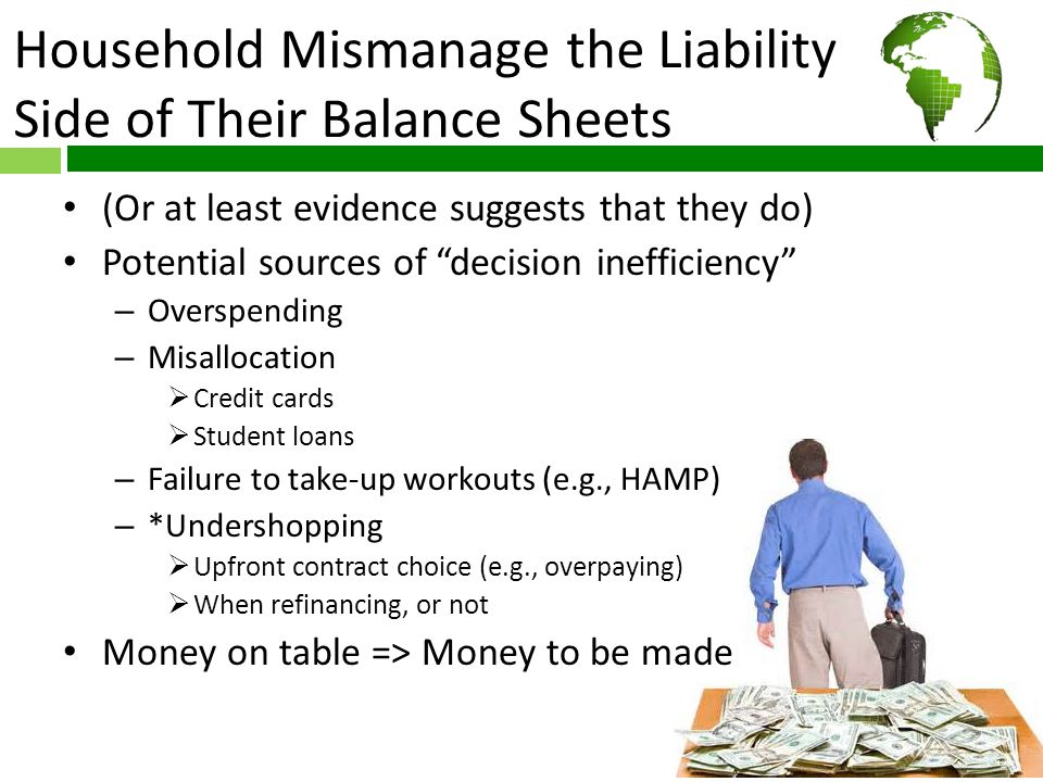 Household Mismanage the Liability Side of Their Balance Sheets (Or at least evidence suggests that they do) Potential sources of decision inefficiency – Overspending – Misallocation  Credit cards  Student loans – Failure to take-up workouts (e.g., HAMP) – *Undershopping  Upfront contract choice (e.g., overpaying)  When refinancing, or not Money on table => Money to be made