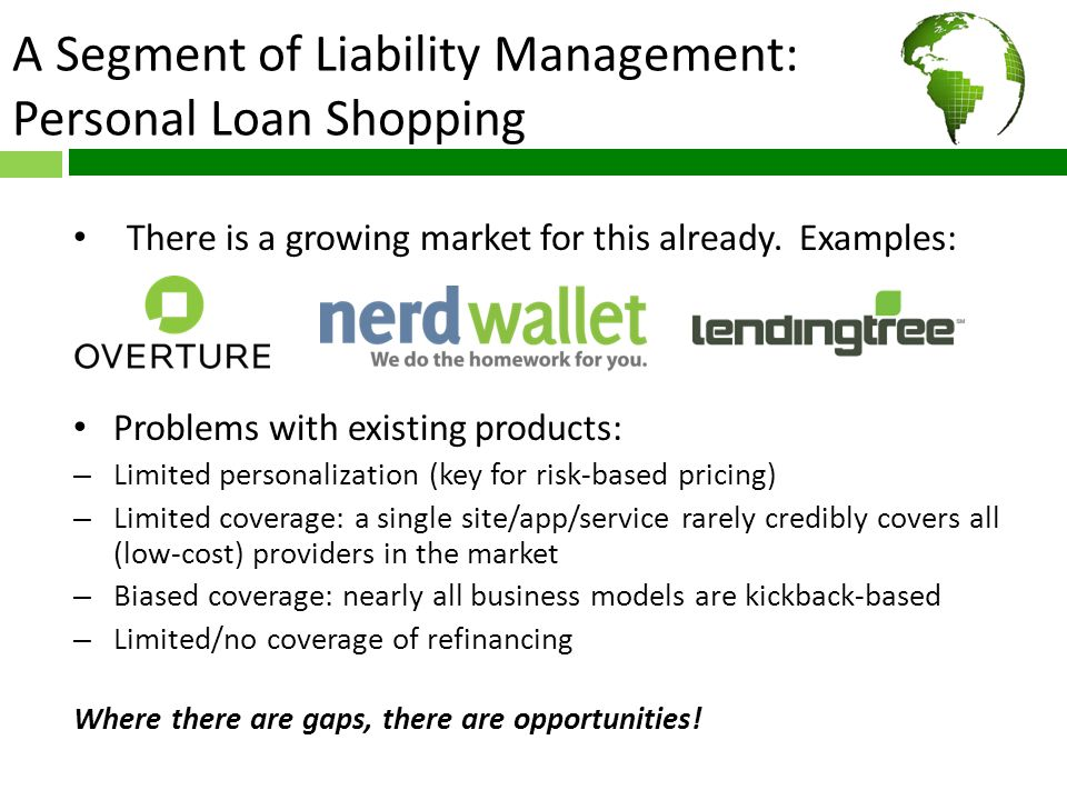 A Segment of Liability Management: Personal Loan Shopping There is a growing market for this already. Examples: Problems with existing products: – Lim