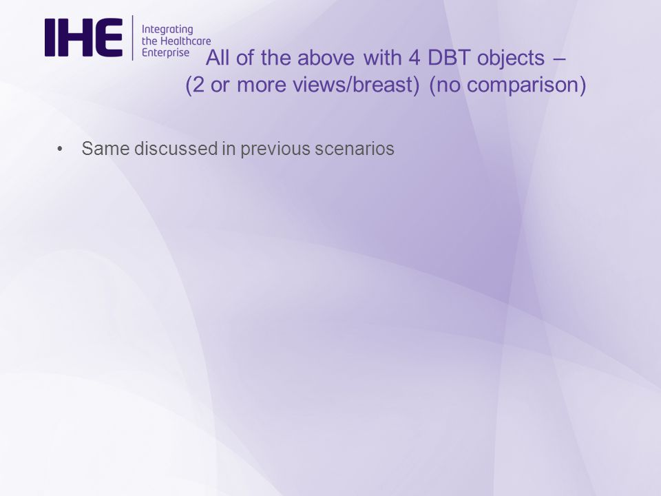 All of the above with 4 DBT objects – (2 or more views/breast) (no comparison) Same discussed in previous scenarios