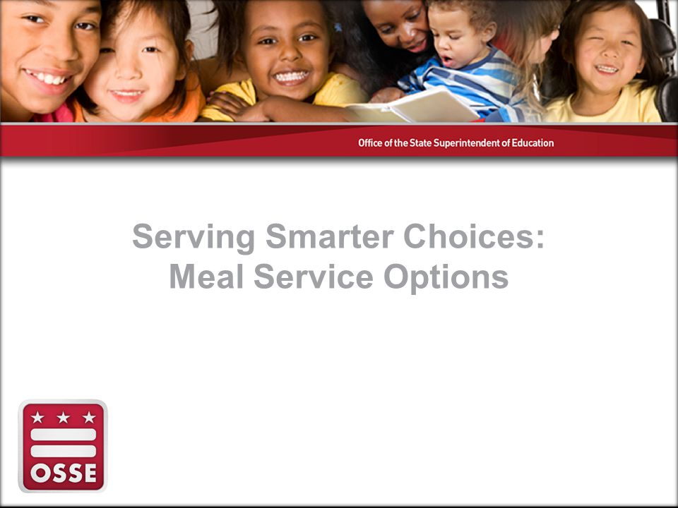 We will discuss… 1.Portion control 2.Types of meal service options 3.Best Practices
