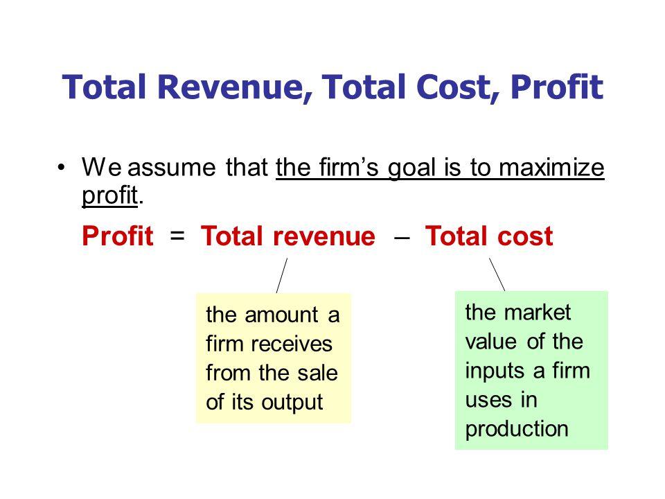 Total Revenue, Total Cost, Profit We assume that the firm's goal is to maximize profit. Profit = Total revenue – Total cost the amount a firm receives