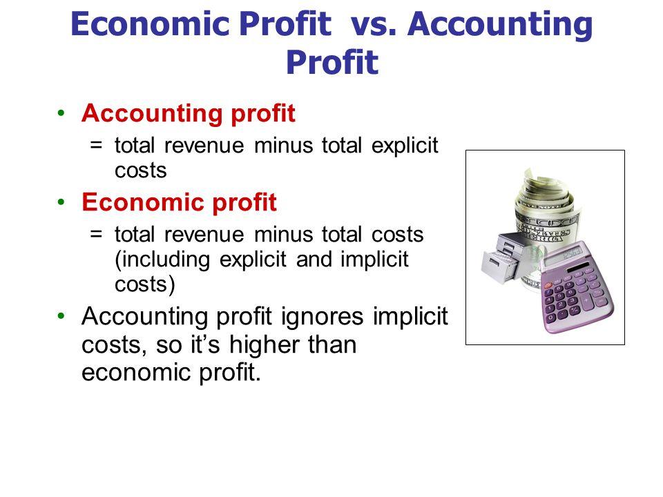 Economic Profit vs. Accounting Profit Accounting profit =total revenue minus total explicit costs Economic profit =total revenue minus total costs (in