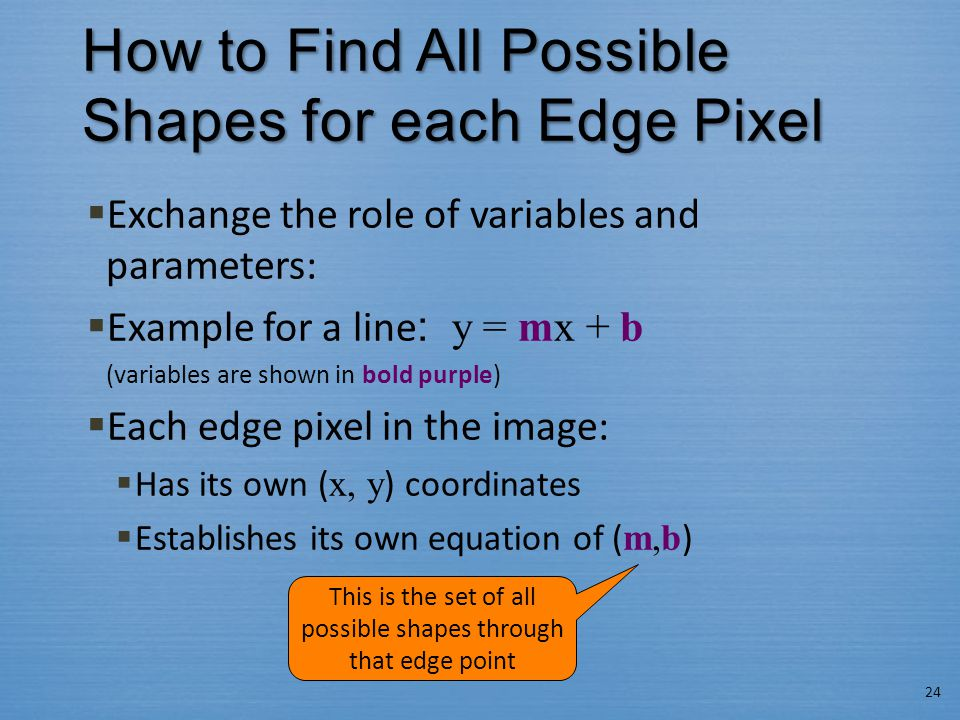 How to Find All Possible Shapes for each Edge Pixel  Exchange the role of variables and parameters:  Example for a line : y = mx + b (variables are