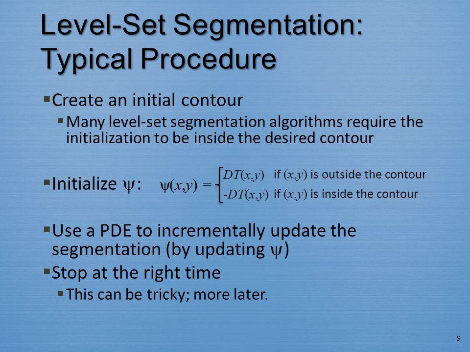 Level-Set Segmentation: Typical Procedure  Create an initial contour  Many level-set segmentation algorithms require the initialization to be inside