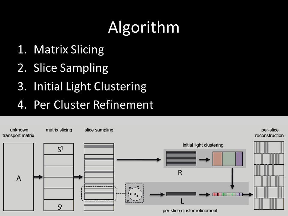 Algorithm 1.Matrix Slicing 2.Slice Sampling 3.Initial Light Clustering 4.Per Cluster Refinement