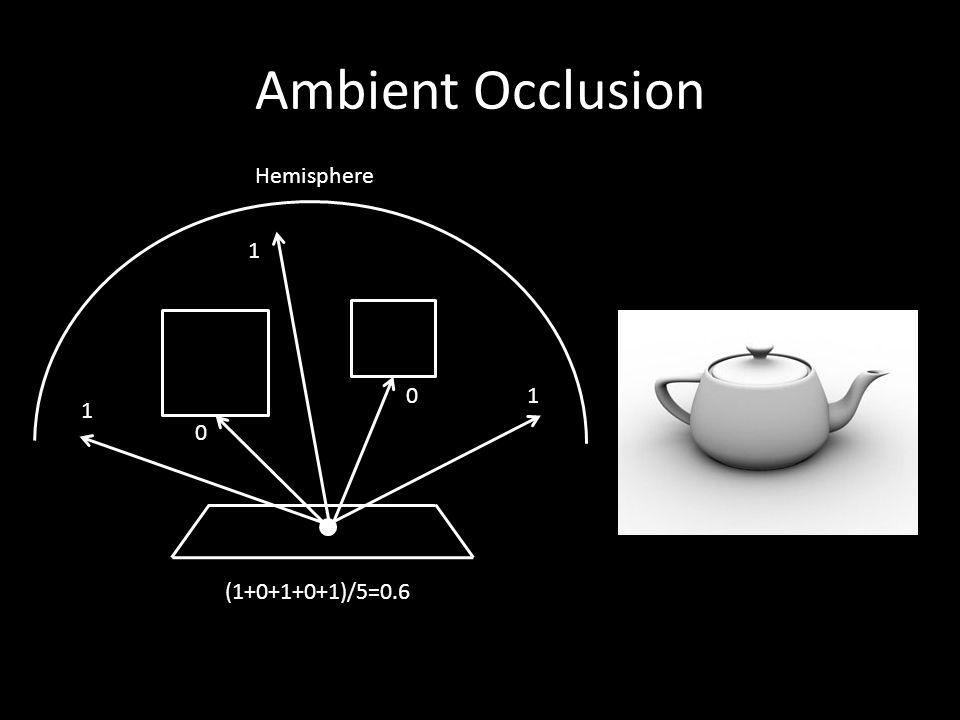 Ambient Occlusion 1 1 1 0 0 (1+0+1+0+1)/5=0.6 Hemisphere