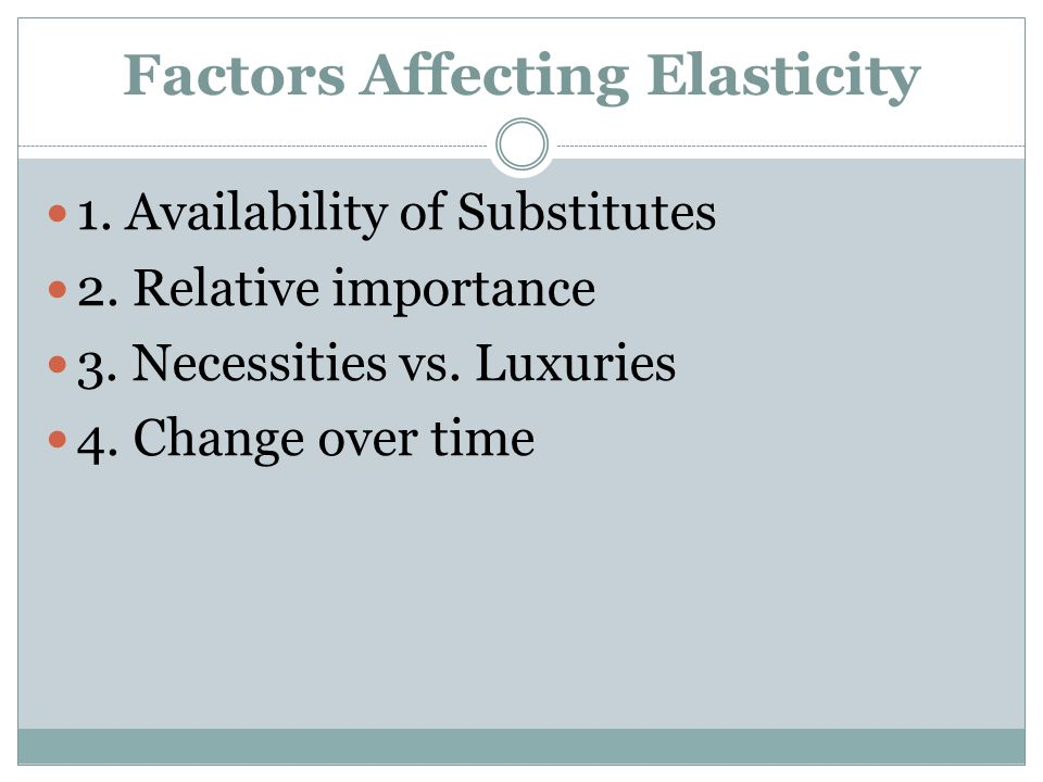 Factors Affecting Elasticity 1. Availability of Substitutes 2. Relative importance 3. Necessities vs. Luxuries 4. Change over time