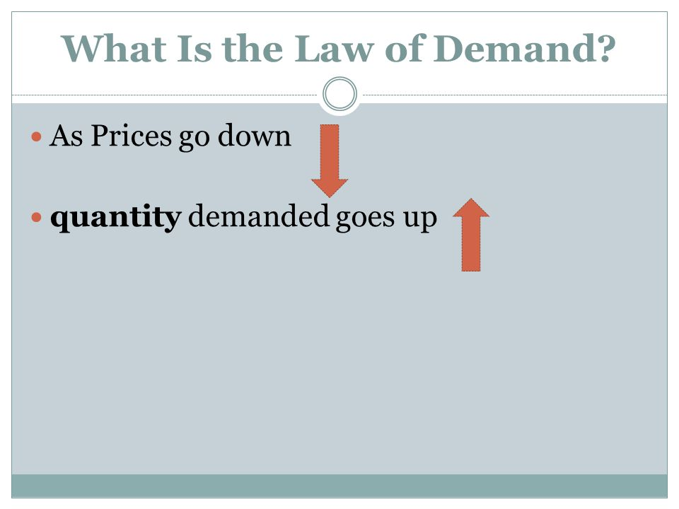 What Is the Law of Demand? As Prices go down quantity demanded goes up
