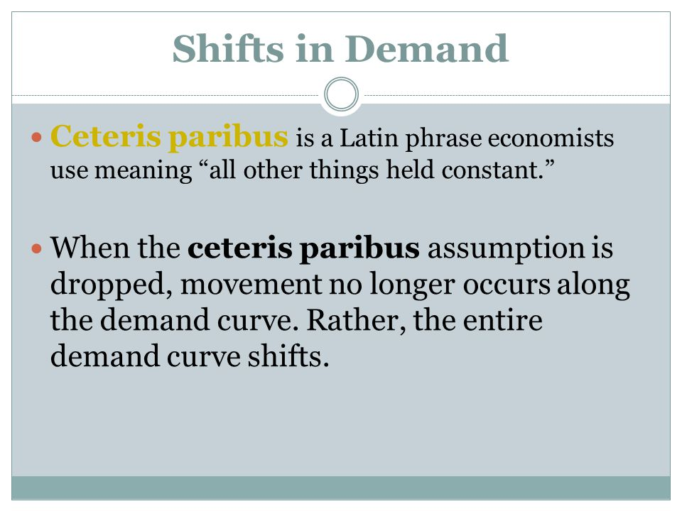 """Shifts in Demand Ceteris paribus is a Latin phrase economists use meaning """"all other things held constant."""" When the ceteris paribus assumption is dro"""