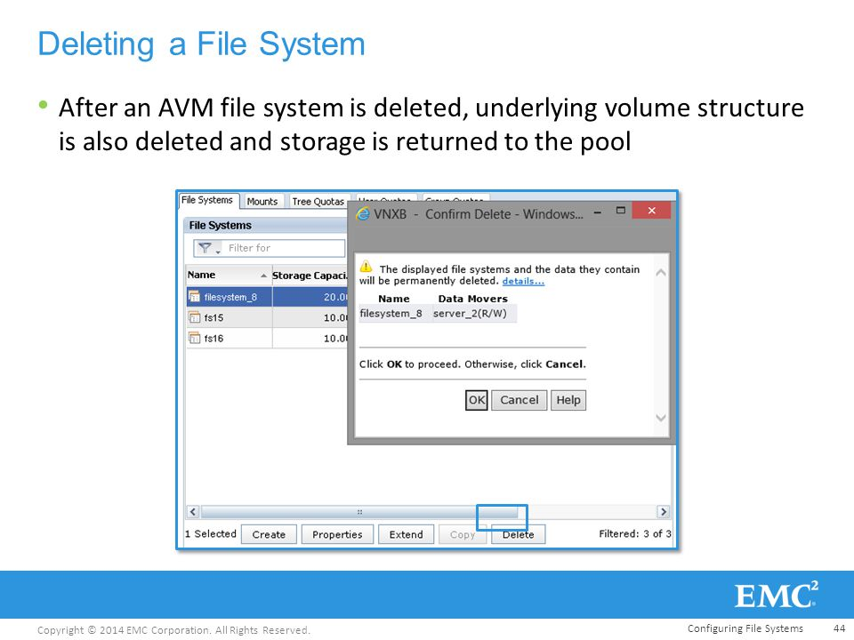 Copyright © 2014 EMC Corporation. All Rights Reserved. Deleting a File System After an AVM file system is deleted, underlying volume structure is also