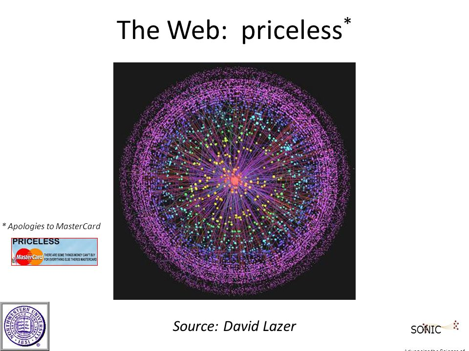 The Web: priceless * Source: David Lazer * Apologies to MasterCard SONIC Advancing the Science of Networks in Communities