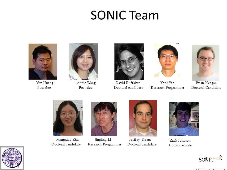 SONIC Team Zack Johnson Undergraduate Mengxiao Zhu Jingling Li Jeffrey Treem Doctoral candidate Research Programmer Doctoral candidate York Yao Research Programmer Yun Huang Annie Wang David Huffaker Post-doc Post-doc Doctoral candidate Brian Keegan Doctoral Candidate SONIC Advancing the Science of Networks in Communities