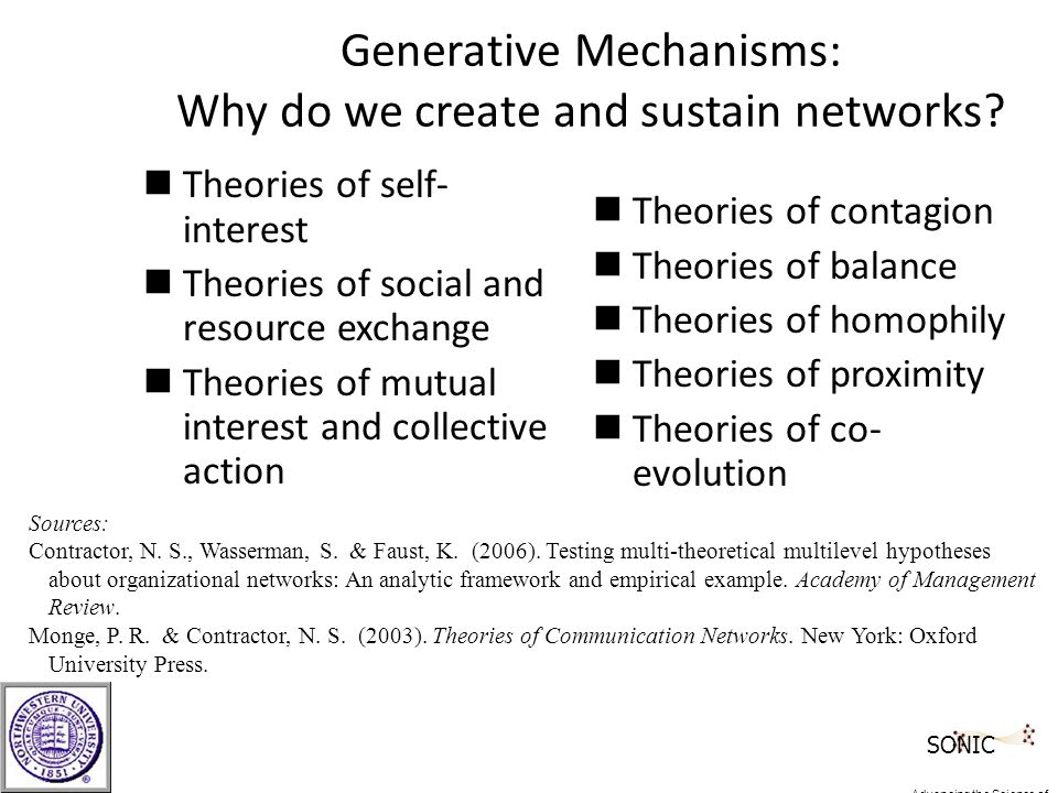 Generative Mechanisms: Why do we create and sustain networks.