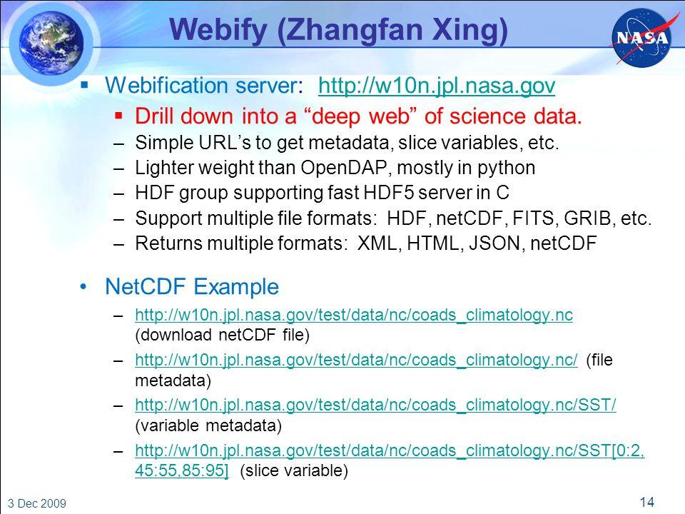 14 3 Dec 2009 Webify (Zhangfan Xing)  Webification server: http://w10n.jpl.nasa.govhttp://w10n.jpl.nasa.gov  Drill down into a deep web of science data.