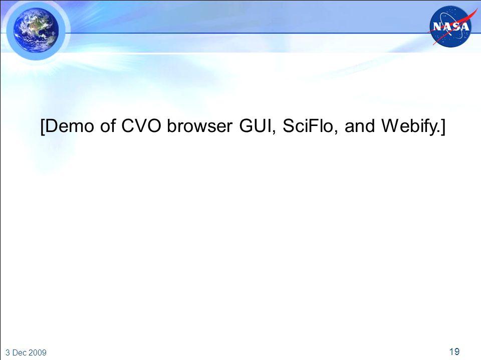 19 3 Dec 2009 [Demo of CVO browser GUI, SciFlo, and Webify.]