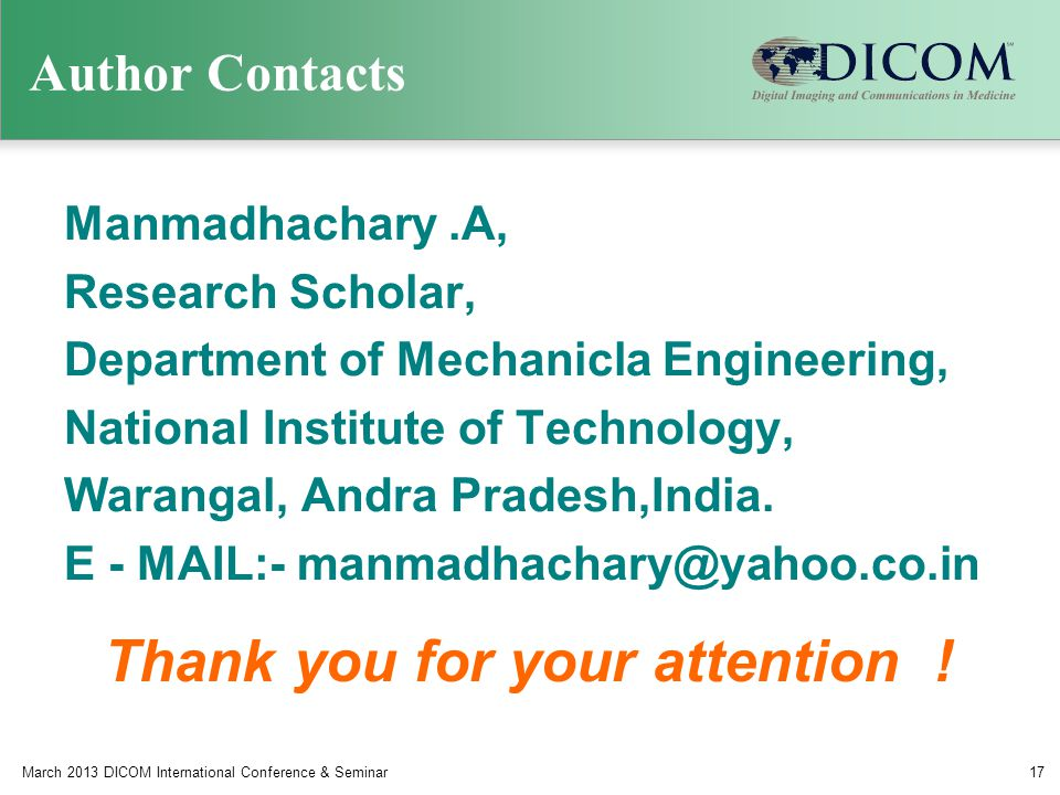 Author Contacts Manmadhachary.A, Research Scholar, Department of Mechanicla Engineering, National Institute of Technology, Warangal, Andra Pradesh,India.