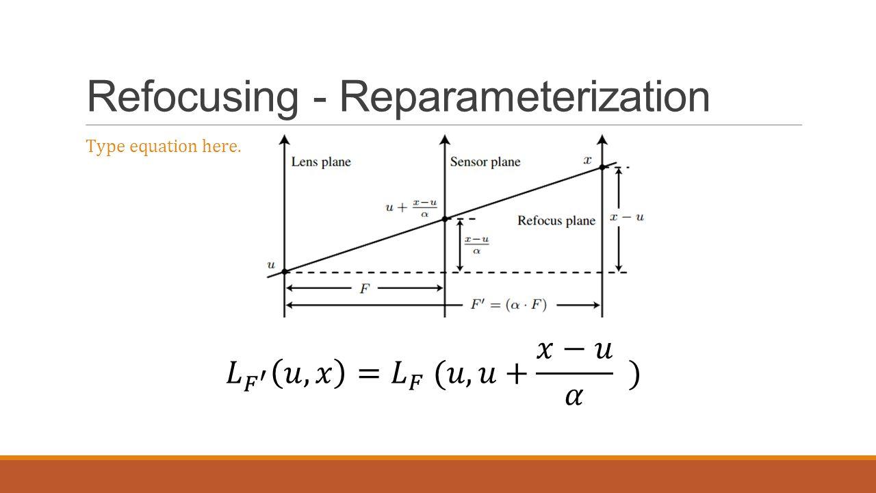 Refocusing - Reparameterization