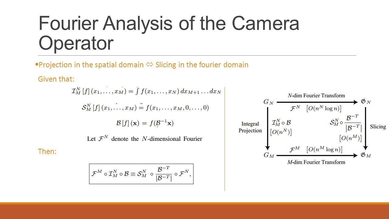 Fourier Analysis of the Camera Operator  Projection in the spatial domain  Slicing in the fourier domain Given that: Then: