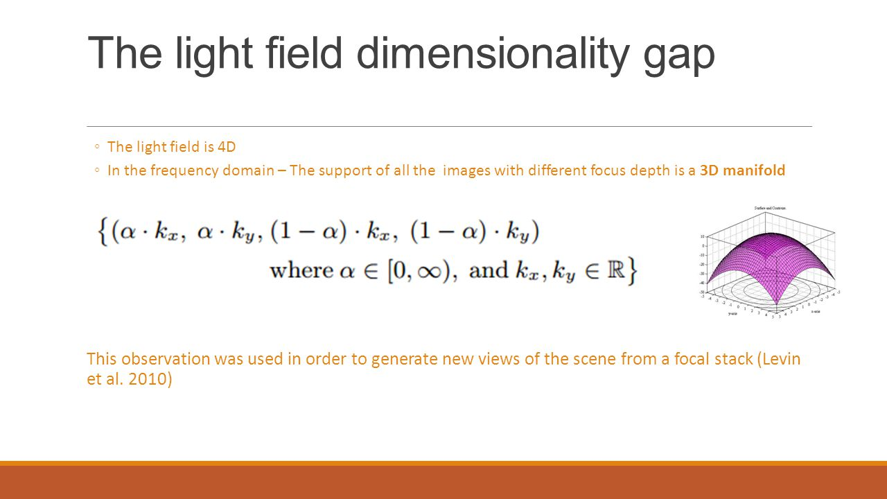 The light field dimensionality gap ◦The light field is 4D ◦In the frequency domain – The support of all the images with different focus depth is a 3D manifold This observation was used in order to generate new views of the scene from a focal stack (Levin et al.