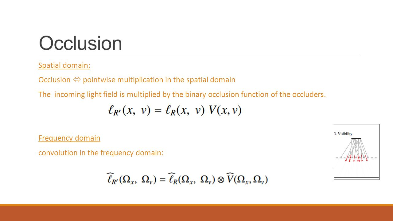 Occlusion Spatial domain: Occlusion  pointwise multiplication in the spatial domain The incoming light field is multiplied by the binary occlusion function of the occluders.