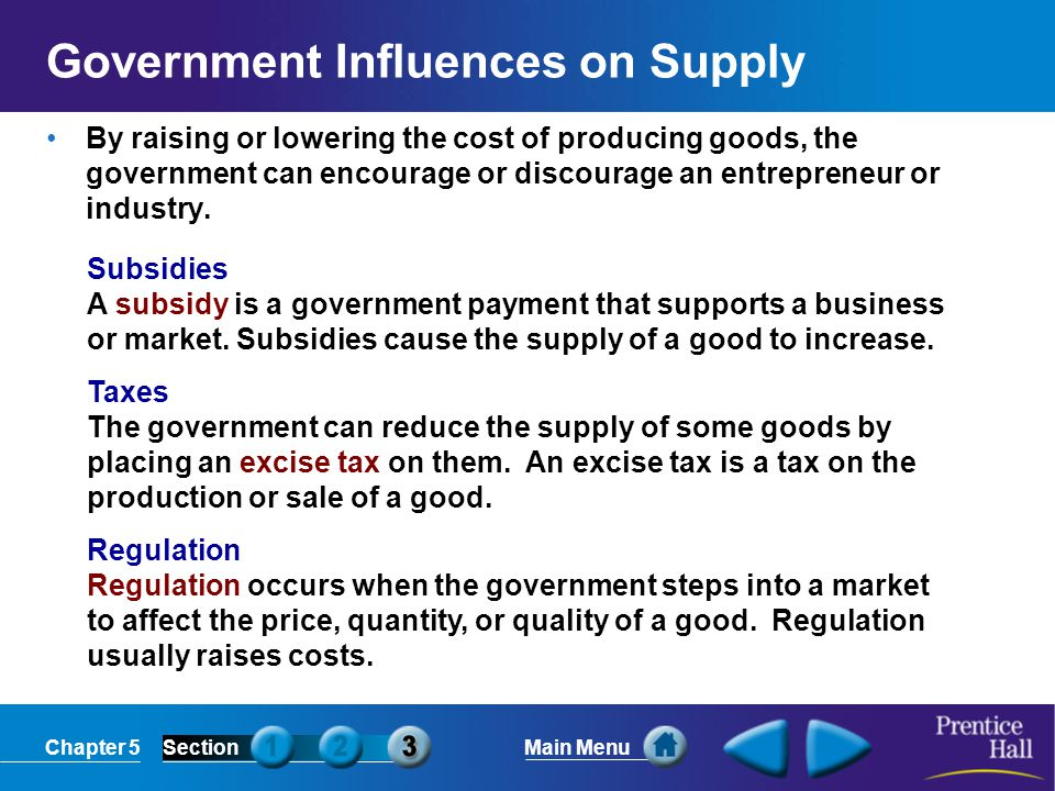 Chapter 5SectionMain Menu Government Influences on Supply By raising or lowering the cost of producing goods, the government can encourage or discoura