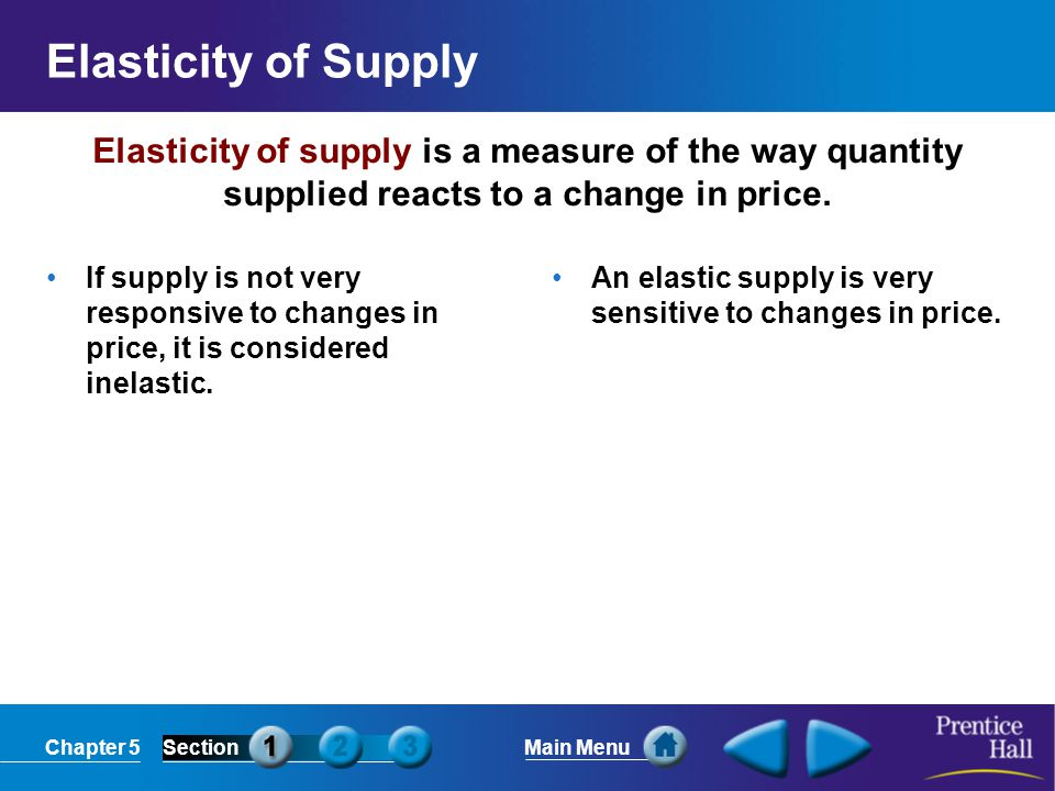 Chapter 5SectionMain Menu Time In the long run, firms are more flexible, so supply can become more elastic.