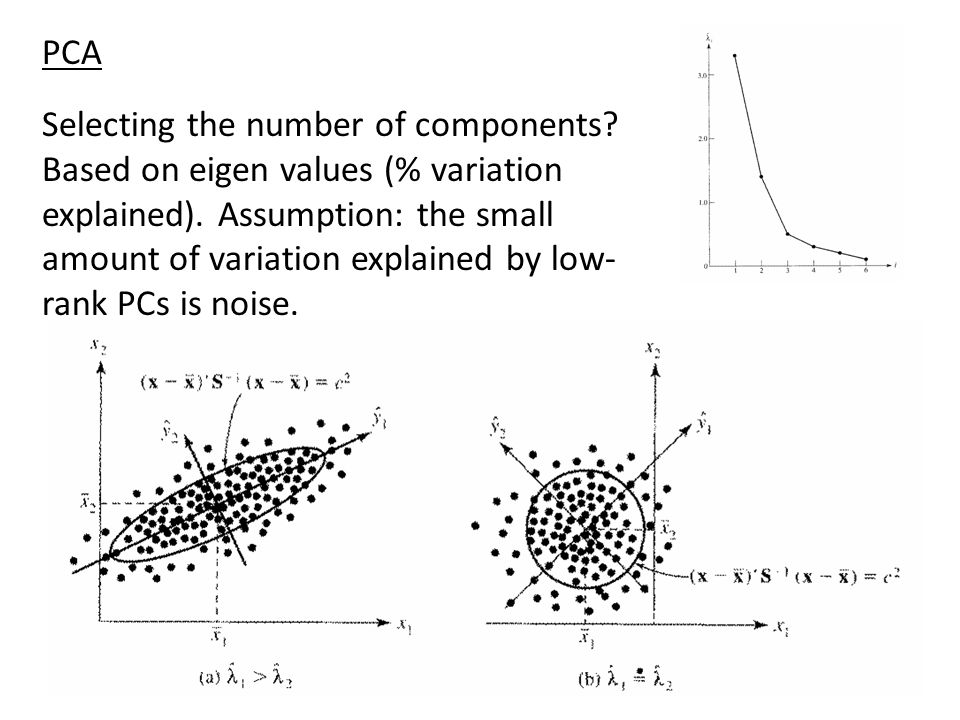 Selecting the number of components? Based on eigen values (% variation explained). Assumption: the small amount of variation explained by low- rank PC