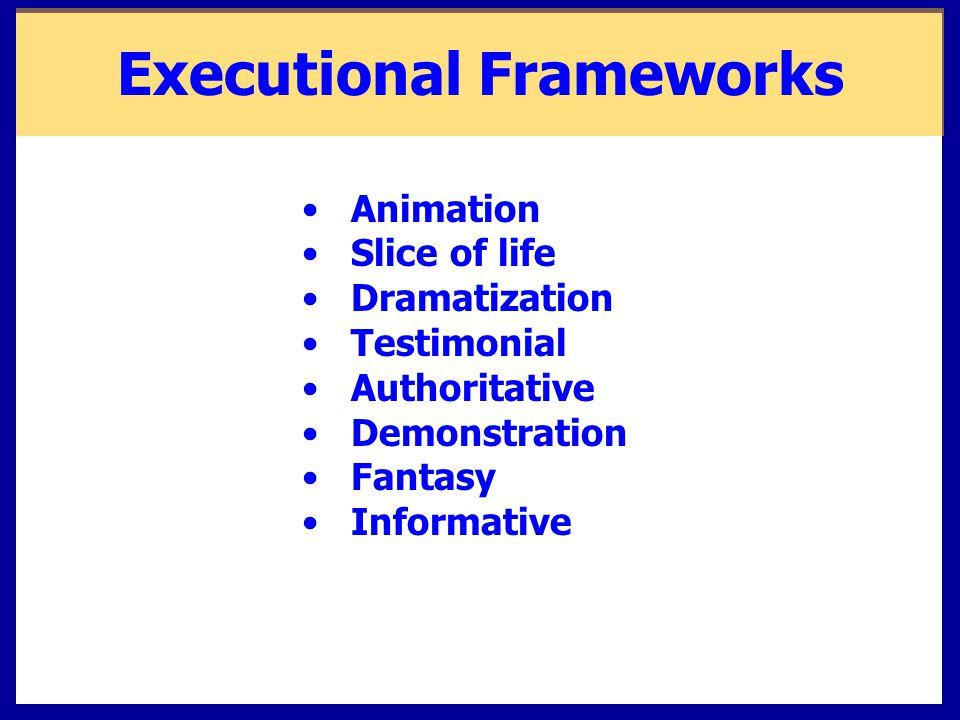 Executional Frameworks Animation Slice of life Dramatization Testimonial Authoritative Demonstration Fantasy Informative