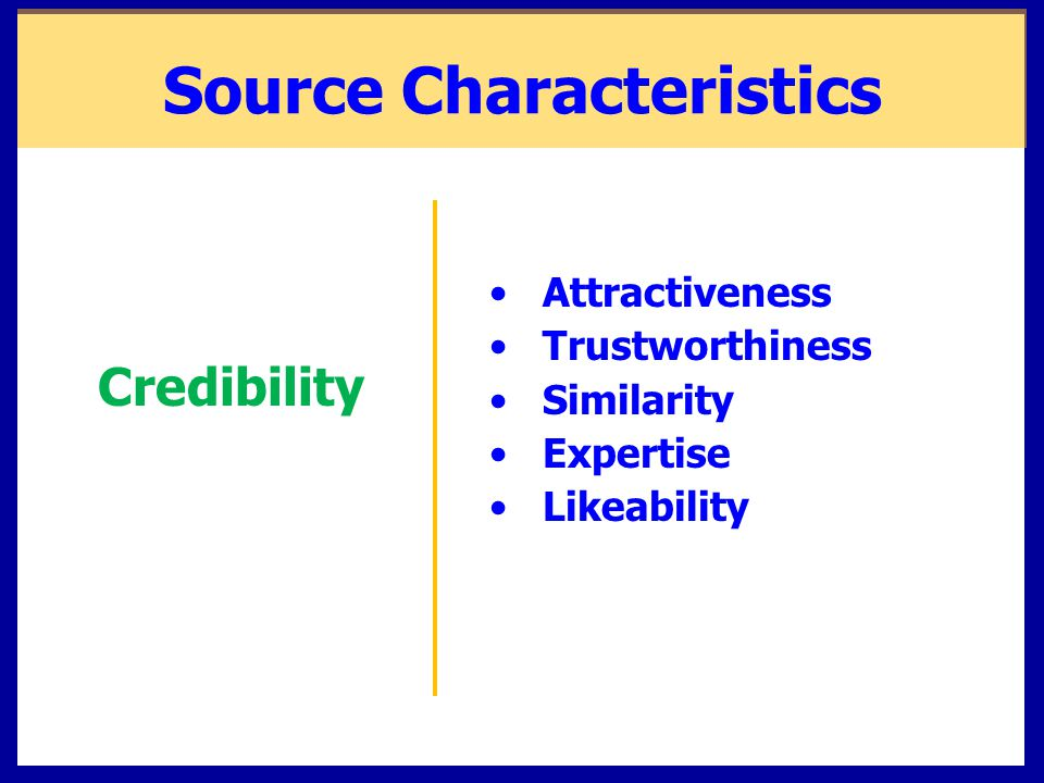Source Characteristics Attractiveness Trustworthiness Similarity Expertise Likeability Credibility