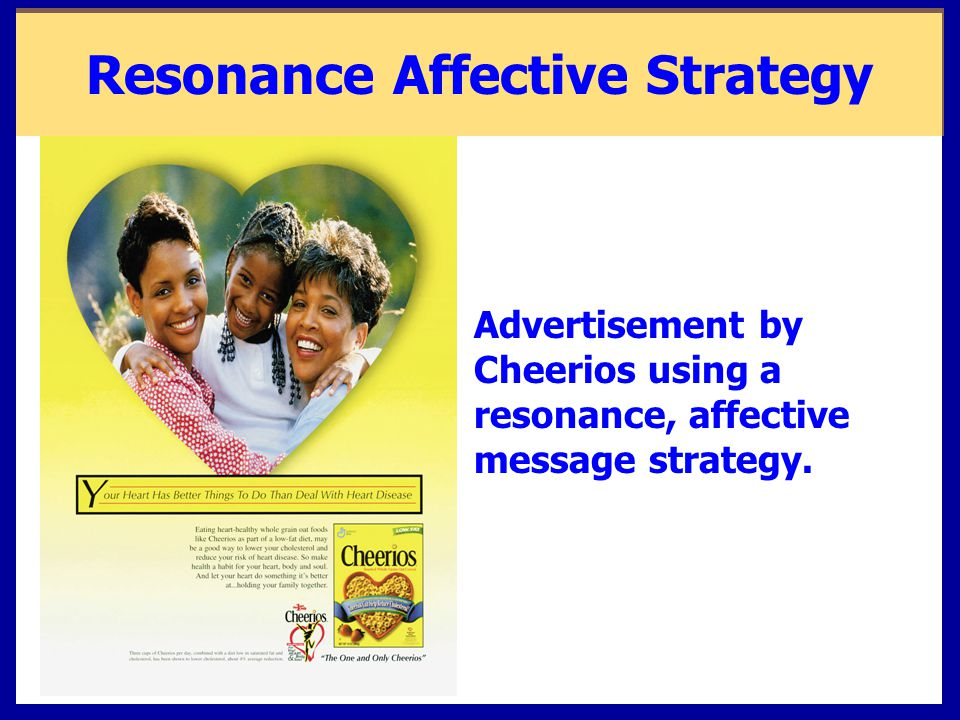 Advertisement by Cheerios using a resonance, affective message strategy. Resonance Affective Strategy