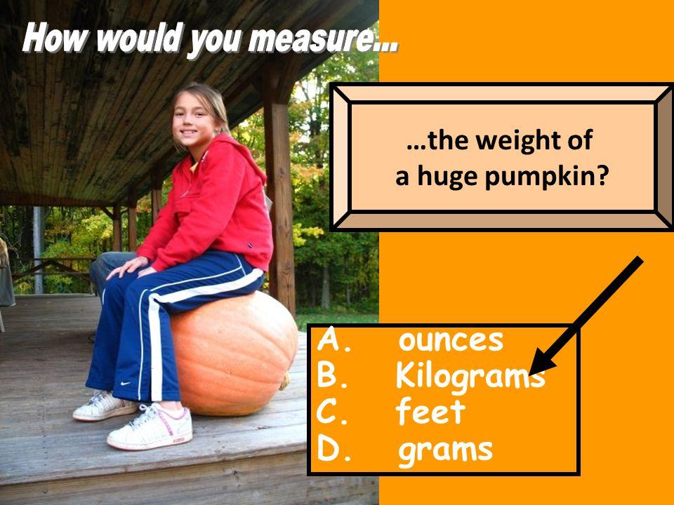 A. ounces B. Kilograms C. feet D. grams …the weight of a huge pumpkin