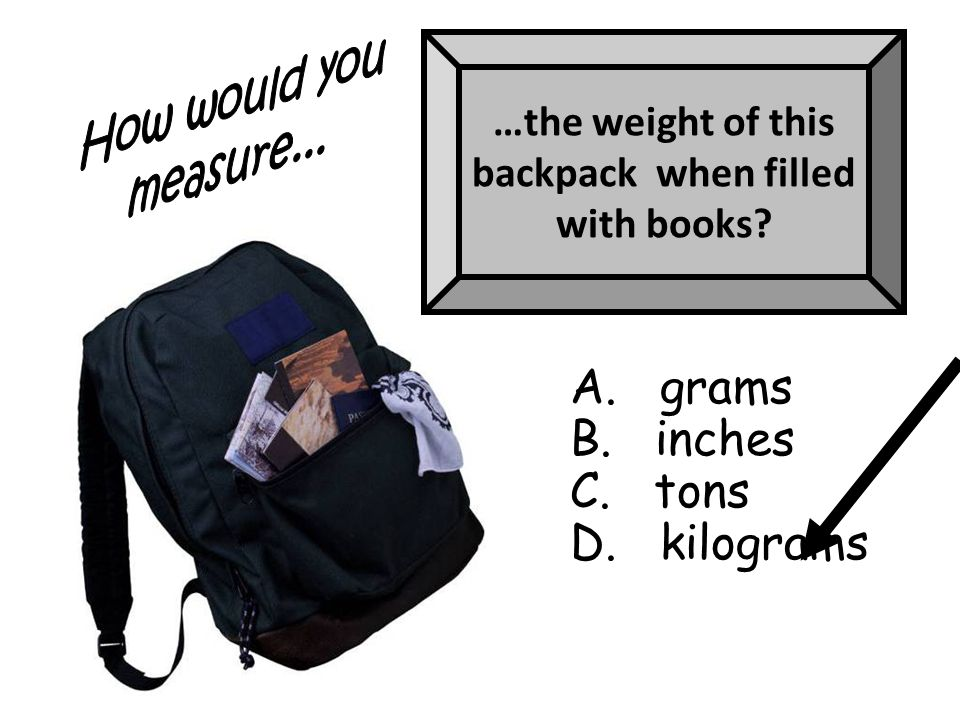 …the weight of this backpack when filled with books A. grams B. inches C. tons D. kilograms
