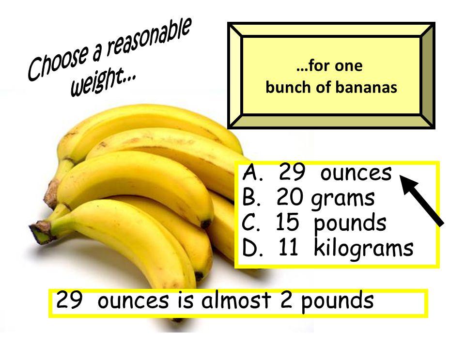 A. 29 ounces B. 20 grams C. 15 pounds D.