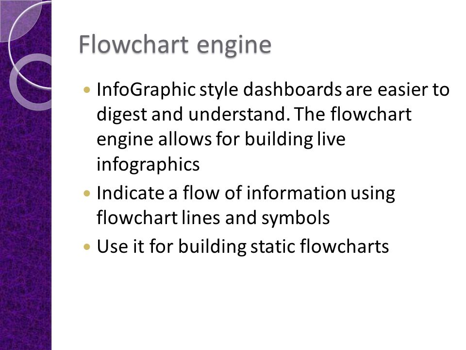Flowchart engine InfoGraphic style dashboards are easier to digest and understand. The flowchart engine allows for building live infographics Indicate
