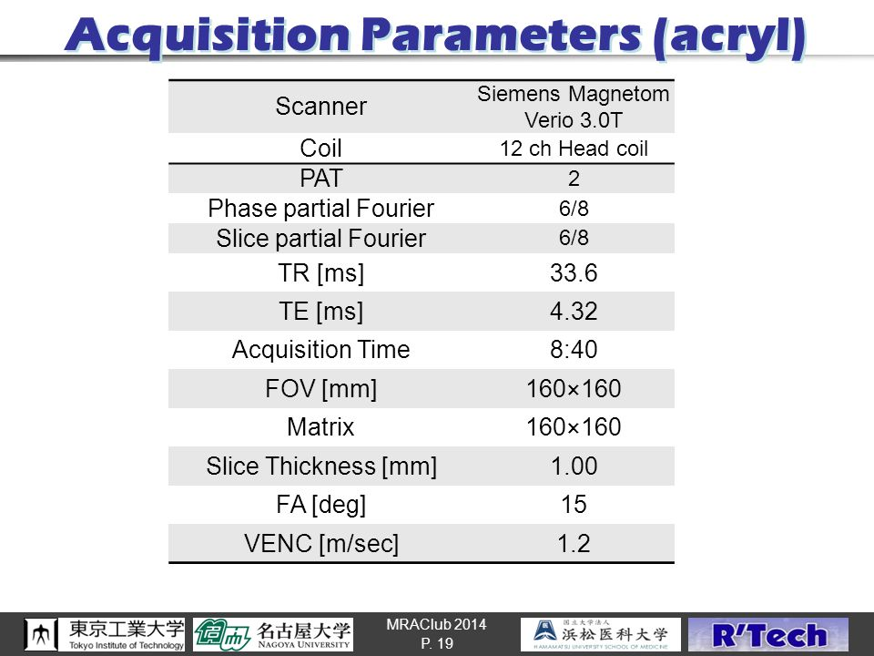 MRAClub 2014 Acquisition Parameters (acryl) P. 19 Scanner Siemens Magnetom Verio 3.0T Coil 12 ch Head coil PAT 2 Phase partial Fourier 6/8 Slice parti